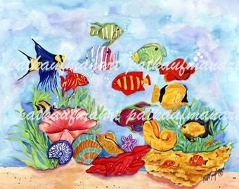 tropical fish, tropical watercolor, pat kaufman art, watercolor, coastal decor, cottage decor, beach art, watercolor, tropical fish,art