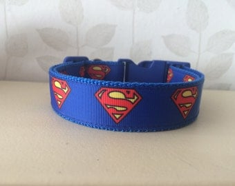 Handmade Dog Collar - Superman