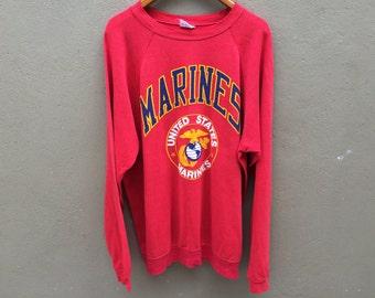 Vintage 80's US MARINES USMC Sweatshirt Jumper Crewneck Shirt Xl