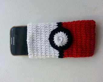 Anime PokemonBall Crochet Mobile Phone Cover with matching KEYCHAIN!