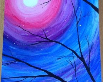 Acrylic painting, Starry sky, landscape painting, art, original handmade painting