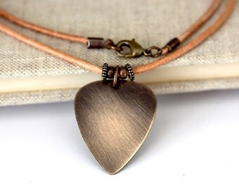Guitar PICK leather necklace guitar plectrum guitar gift for him and her unisex gift for Dad pick brass