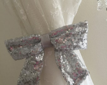 Sequin Curtain Tie Back Curtain Hold Back Silver Home Sweet Home Bridal Gift Nursery Room Livingroom