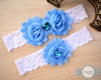 Something Blue Garter Set Handmade with Aqua Rhinestones, Garter Wedding, Custom Garter, Keepsake Garter, Keep Garter, Toss Garter, Garder