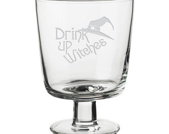 Drink up Witches Glass, SHIPS FAST, Couples Wine Glasses, funny Glasses, birthday Glasses, Custom Engraved, Anniversary Glass