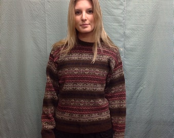 90s vintage Brown multicolored wool pullover sweater