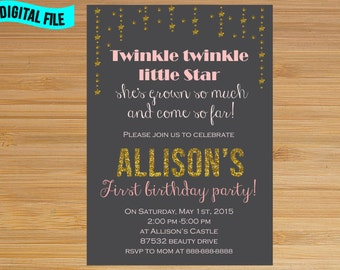 Pink and Gold Twinkle Twinkle Little Star Chalkboard Invitation, Twinkle Twinkle Little Star First Birthday Invitation, Little Star birthday