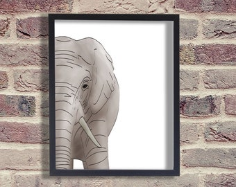 INSTANT DOWNLOAD - Art print - Elephant Print - Room Decor - Animal Print Nursery - Elephant Pictures - Contemporary - Digital Art