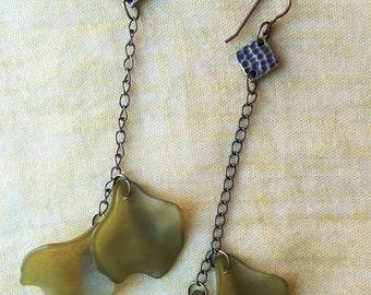 Olive & Brass Petal Dangle Earrings