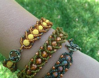 Autumn Gold Flat Spiral Rope Bead Bracelet Set
