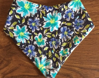 Navy/aqua flower bandana bib