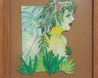 "Original Watercolor Paper Cutout and Painting ""Growth."""