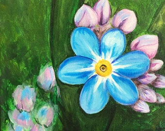 Forget Me Not 8x8 Original Acrylic Painting