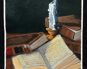 Original Hand Painted Acrylic Painting Books Candle On Canvas 9x12