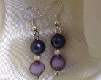 Purple and silver dangle silver plated earrings