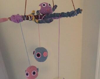 Handmade crochet owl mobile