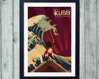 Kubo and the Two Strings Movie Poster, Kubo Minimalist Movie Poster, Kubo Poster, Laika, Kubo and the Two Strings, Vintage, Dark Red