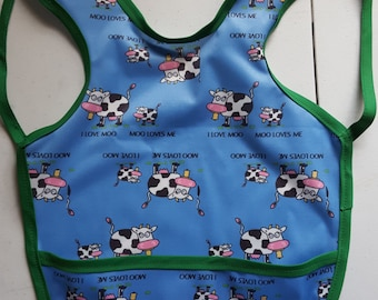 Apron Bibs fits 6 months to 3 years-Made with 1 Mil PUL