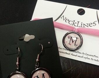Pink Polka Dot Initial Earrings