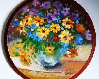Colorful Flowers Wood Painting