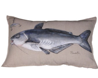 "CATFISH PILLOW COVER, Blue Catfish Pillow Sham, Hand Painted (12"" x 20"")"