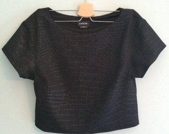 Black Bebe Faux Snakeskin shirt