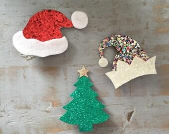 Christmas hair clips, handmade, Christmas hair accessories