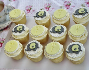 """12 yellow and grey baby elephant """"IT'S A ?"""" surprise fondant cupcake toppers. Baby shower party/gift"""