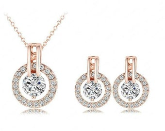 18K Rose Gold Plated Necklace/Earring Set