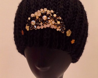 Black bedazzled/decorated beanie