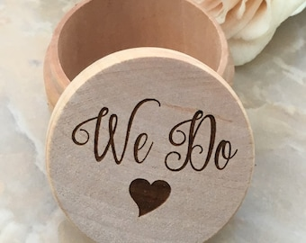 We Do Engraved Ring Box Engraved Wedding Ring Box Wedding Shower Gift Wedding Ring Holder Wedding Band Box Ring Bearer Box Wood Engraved Box