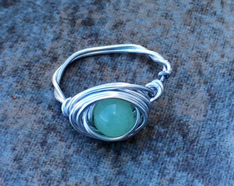 Peridot Twisted Gem wirewrapped ring. Size 6