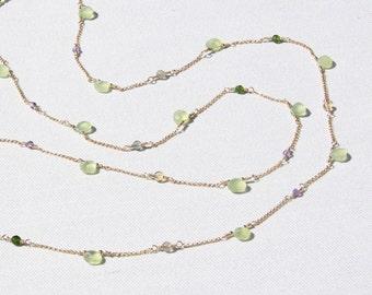 semi-precious gem and gold necklace