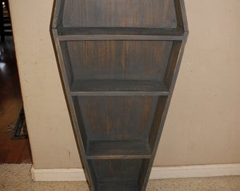 Custom Rustic Handmade Horror Coffin Shelf / Bookshelf / DVD case