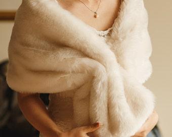 Luxury bridal faux fur wrap shrug