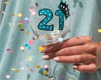 Wine Glass, Hand Painted,  21st Birthday!