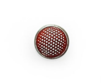 Porcelain Ceramic Dots in Red Cabochon 1 piece
