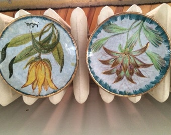 Vintage Italian Floral Coasters/Dishes, Hand Painted, Gold Accents, Set of 4