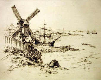 Windmill and Ships (little town in New Amsterdam) etching