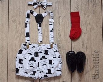 Baby boy 1st Birthday outfit Baby boy suspender and bow tie set Baby boy diaper cover Mustache Print Black and white