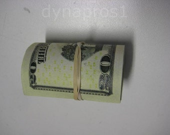 Prop Money Fake Money Roll of 20 Dollar Bills. New Used Look for movies videos motion picture. 1000 US Dollars One Sided Filler Blank