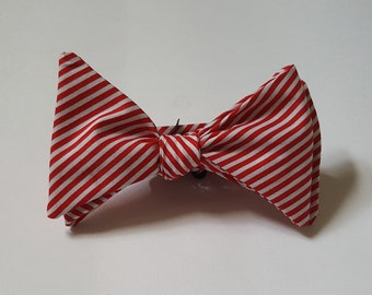 Bow tie - Mens self tie - Red and White - Diagonal Stripe