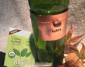 Complete Herb Garden Kit In Repurposed Wine Bottle With Hand Stamped Copper  Plate And Selection Of