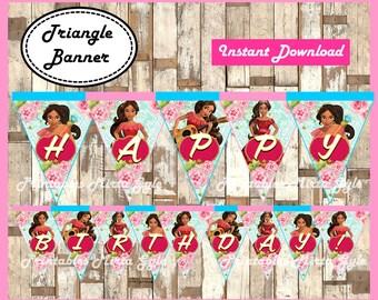 Elena of Avalor Banner, printable Elena of Avalor party Banner, Elena of Avalor triangle Banner