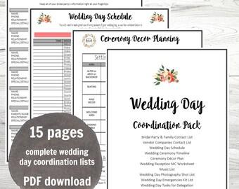 Wedding Day Coordination Worksheet Lists PDF, Wedding planning, instant download, Big Day Planning Lists, PDF