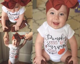 Pumpkin Kisses Outfit - Onesie/Tshirt & Headwrap