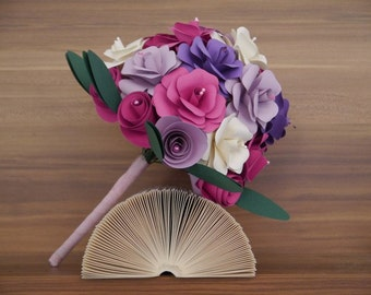 Bridal bouquet in pink and purples / paper roses paper flower bouquet / wedding bouquet / birthday bouquet / bridesmaid / rose