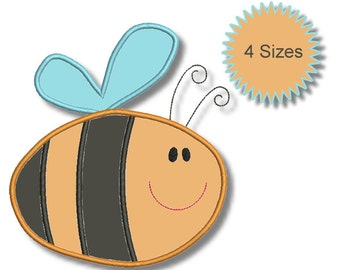 Bee - Machine Embroidery Applique Designs - 4 sizes - Instant Download