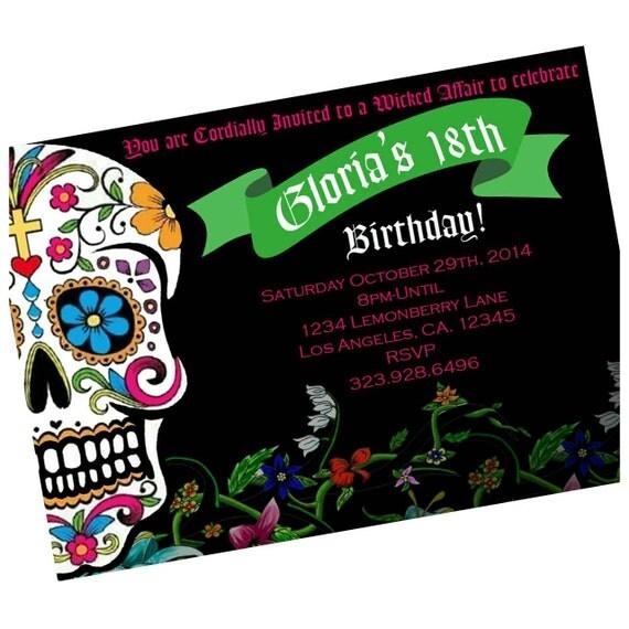 Dia De Los Muertos Birthday Invitations. Walgreens Pic Paper