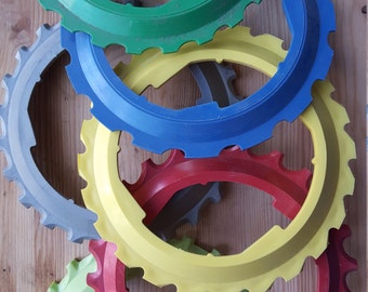 """Art and Craft Supplies-Large Heavy Plastic """"Gears"""" in assorted colors -pkg of 5."""